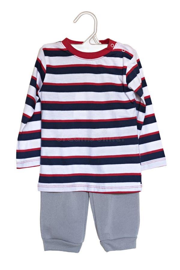 Roupa do bebê calças e camiseta isoladas em um fundo branco imagens de stock