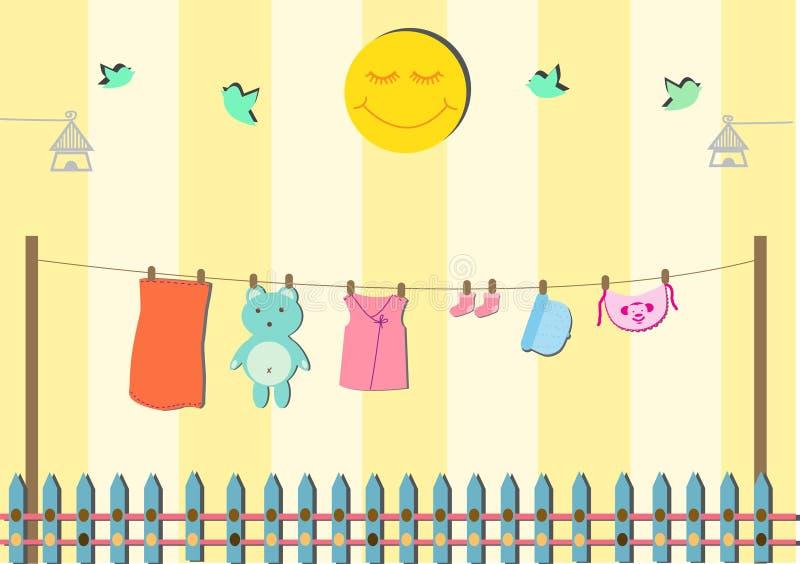 Roupa do bebê no clothespin ilustração do vetor