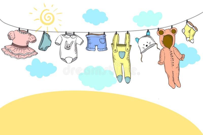 Roupa do beb? no clothespin ilustração royalty free