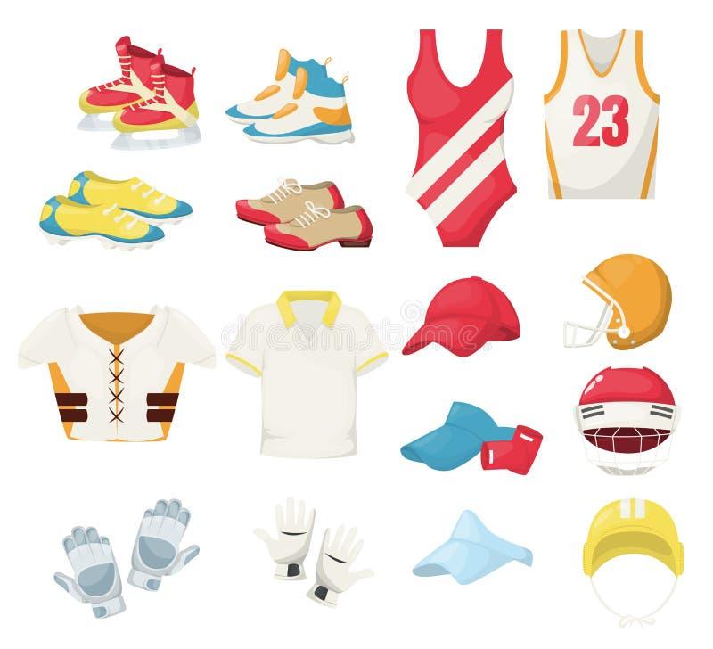 Roupa do esporte e ilustração do vetor do equipamento Roupa de formação das sapatilhas do gym da aptidão Corredor do sportswear d ilustração royalty free