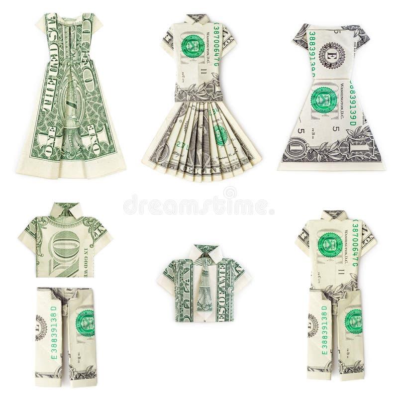 Roupa do origâmi do dólar isolada fotografia de stock royalty free