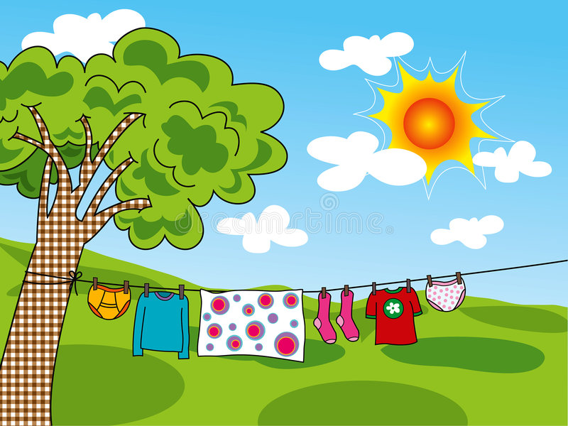 Roupa do verão no sol ilustração stock