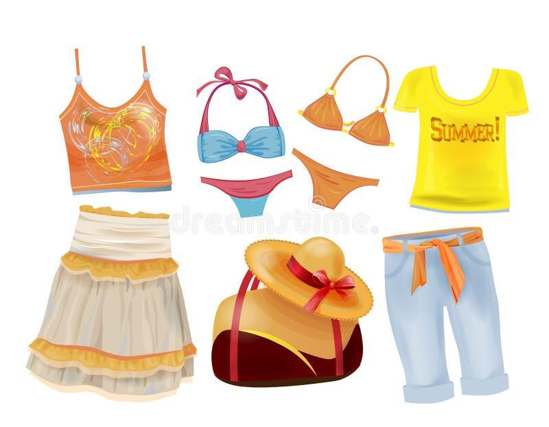 roupa do verão para meninas ilustração stock