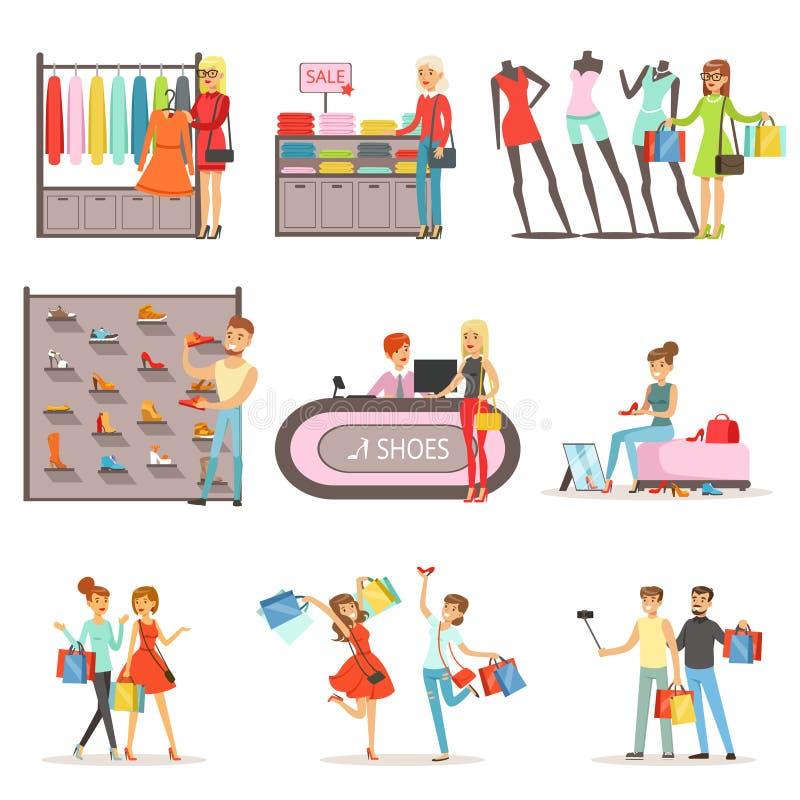 A roupa dos povos e as sapatas de compra e de compra ajustaram-se, as ilustrações coloridas interiores do vetor da loja de roupa  ilustração stock