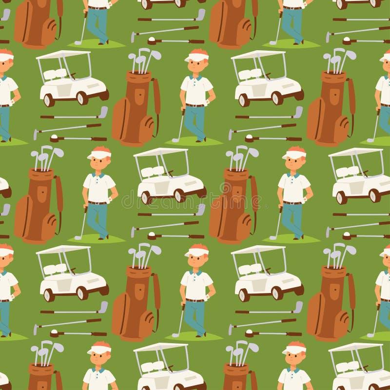 A roupa e os acess?rios do jogador de golfe que golfing o balan?o masculino do clube ostentam o vetor sem emenda do fundo do test ilustração do vetor