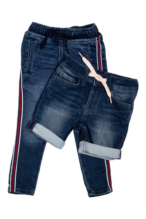 Roupa elegante da sarja de Nimes Calças na moda de calças de ganga do estiramento e calças curtos à moda das calças de brim com a imagem de stock