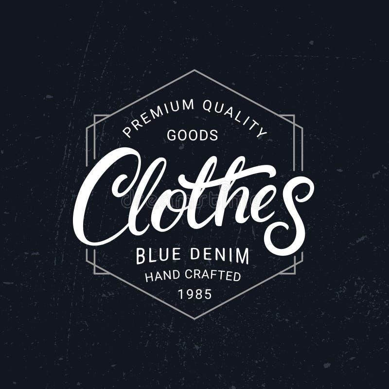 A roupa entrega a etiqueta escrita da rotulação Estilo retro do vintage ilustração stock