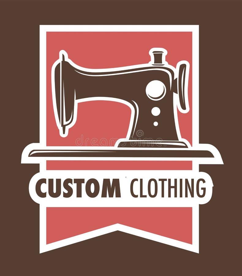 Roupa feito a mão feita sob encomenda da máquina de costura dos serviços do alfaiate da roupa ilustração royalty free