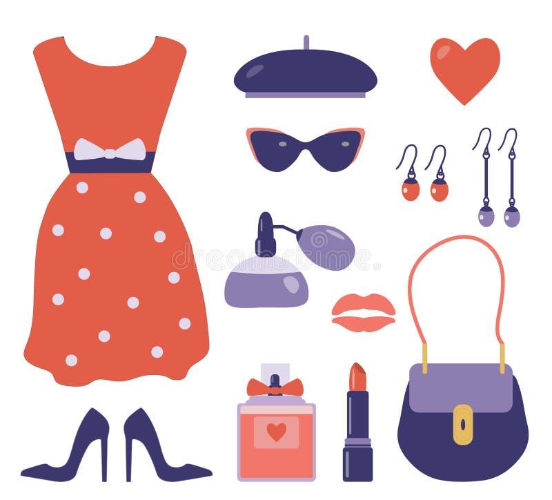 Roupa francesa e acessórios do estilo ajustados ilustração royalty free