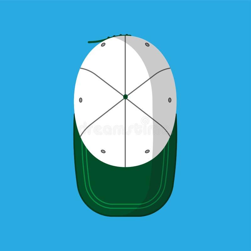 Roupa isolada do ícone do vetor do boné de beisebol chapéu liso Viseira uniforme do algodão do esporte acessório do verde da vist ilustração do vetor