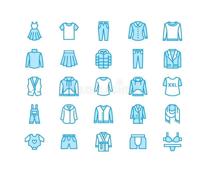Roupa, linha lisa ícones do fasion Homens, fato das mulheres - vista, para baixo revestimento, calças de brim, roupa interior, ca ilustração do vetor