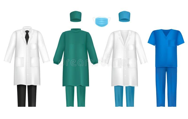 Roupa médica do vetor para os profissionais dos cuidados médicos ajustados ilustração stock