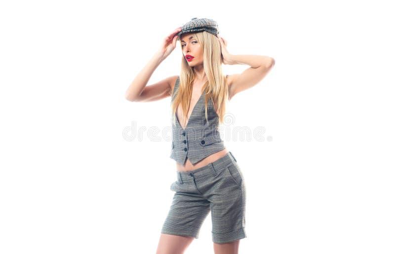 Roupa masculino em seu vestu?rio Menina no jogo formal do terno da roupa com cabelo longo Conceito 'sexy' da mulher de neg?cio Mu fotos de stock