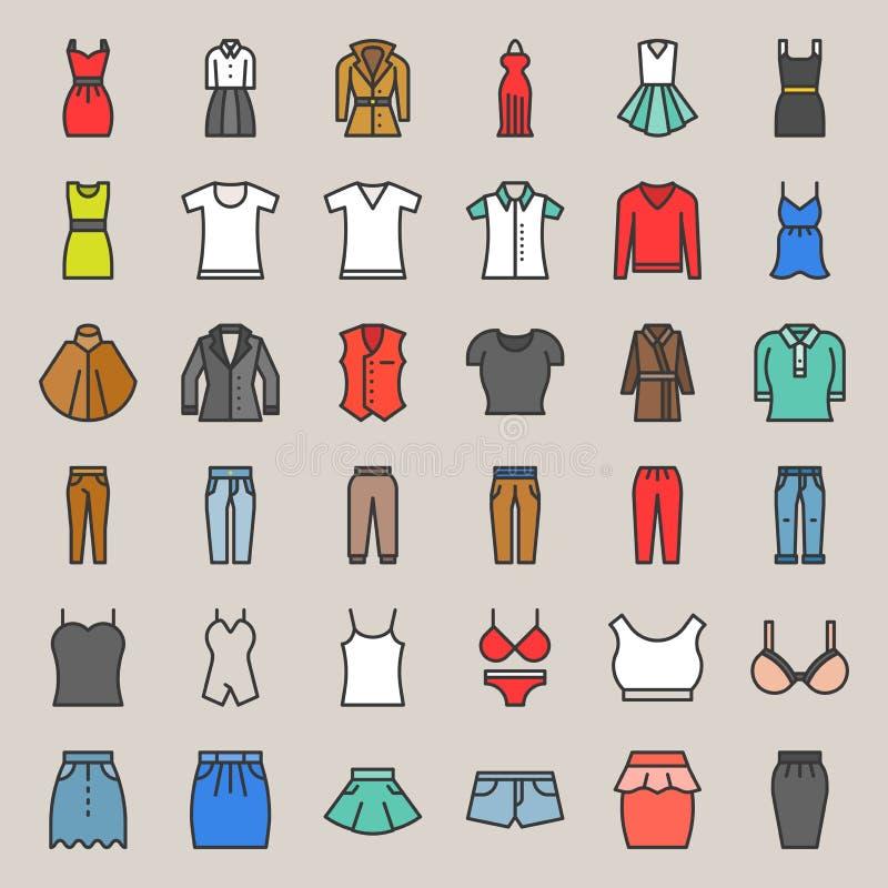 A roupa, o saco, as sapatas e os acessórios fêmeas encheram o ícone s do esboço ilustração stock