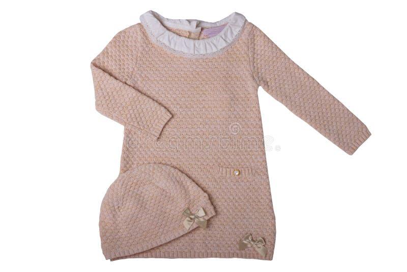 Roupa para crianças Vestido cor-de-rosa do bebê com o colla branco do laço fotos de stock