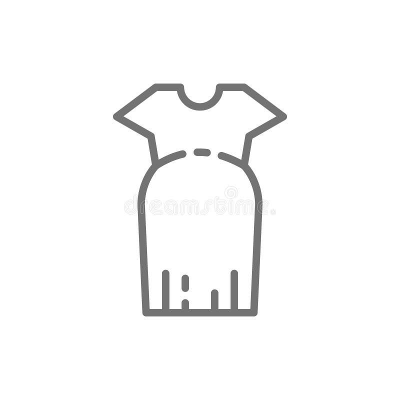 Roupa para mulheres gravidas, linha desproporcionado ícone do vestido ilustração stock