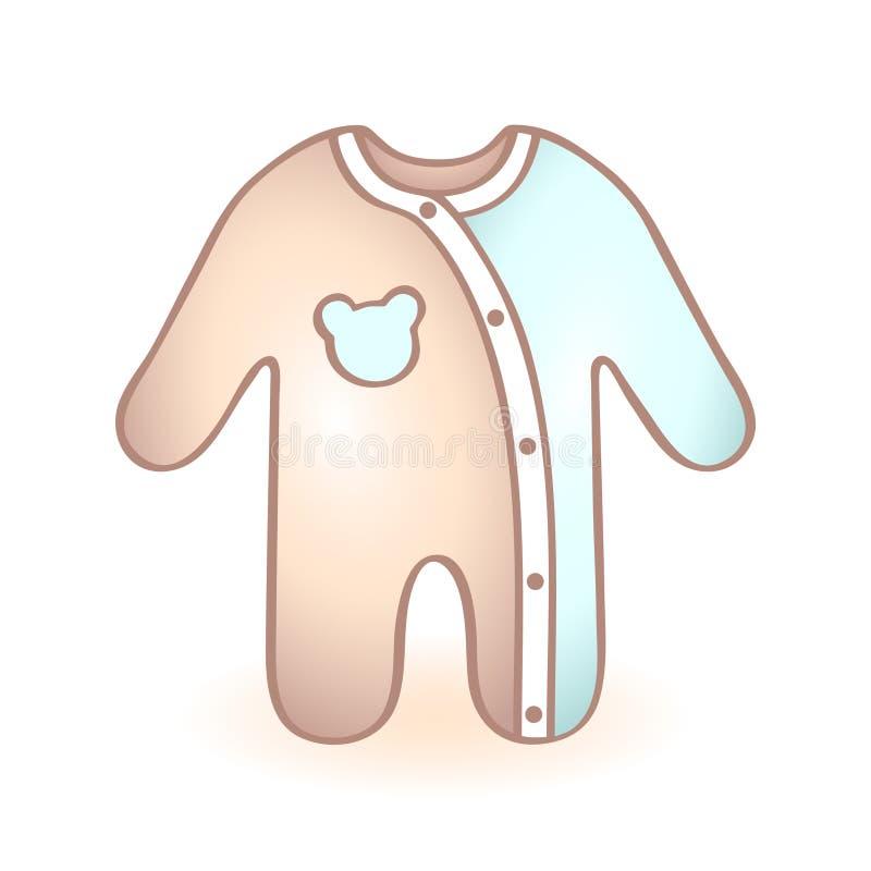 A roupa recém-nascida do bebê, macaquinho com urso azul deu forma à decoração ícone infantil Artigo da criança ilustração do vetor