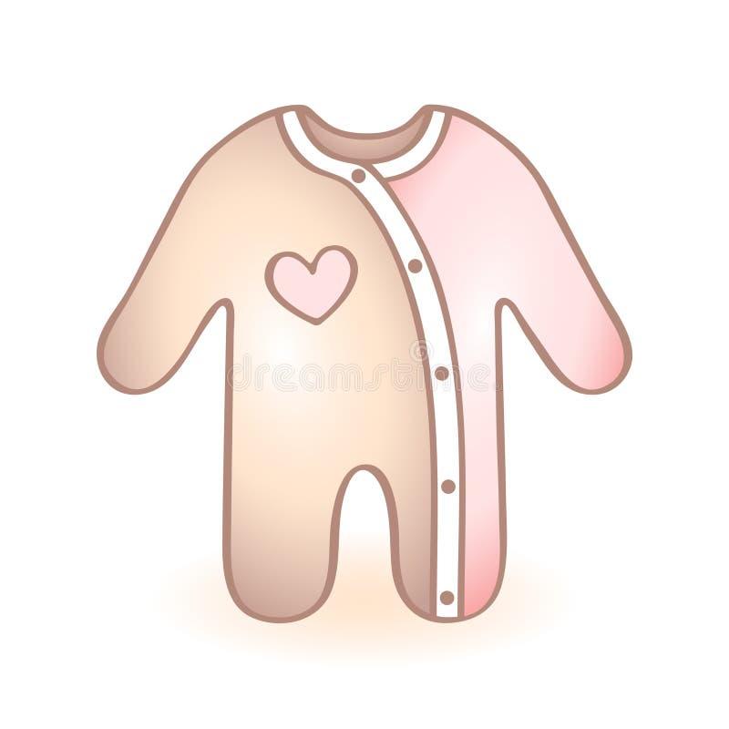 A roupa recém-nascida do bebê, macaquinho com urso azul deu forma à decoração Ícone infantil do vetor Artigo da criança ilustração stock