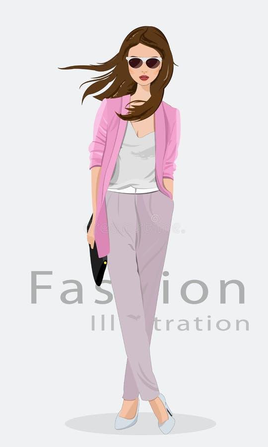 Roupa vestindo da forma da jovem mulher bonita, vidros e com saco Modelo de forma no vestido dourado Ilustração do vetor ilustração do vetor