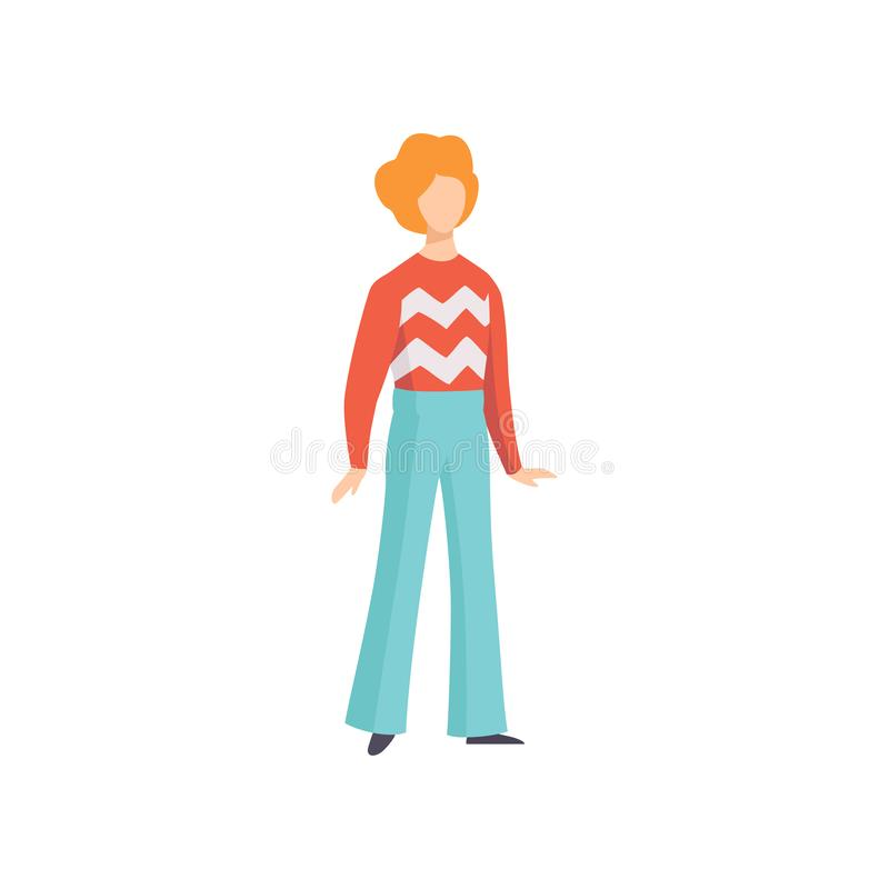Roupa vestindo do vintage do homem novo, pessoa retro da forma da ilustração do vetor 70s em um fundo branco ilustração do vetor
