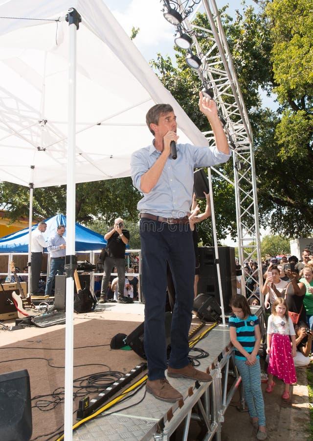 ` Rourke Demócrata Texas Campaigns de Beto O para el senado imagen de archivo
