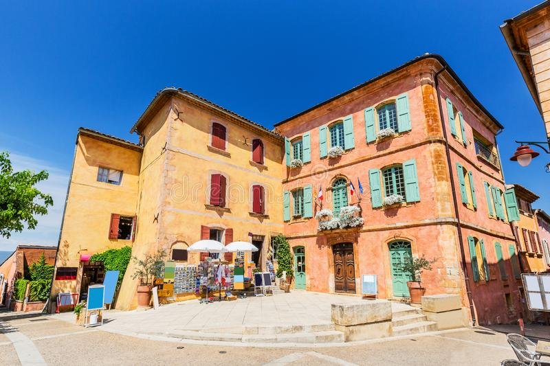 Rousillon, France. Provence, France. Traditional colorful houses in the Old Town of Roussillon royalty free stock image