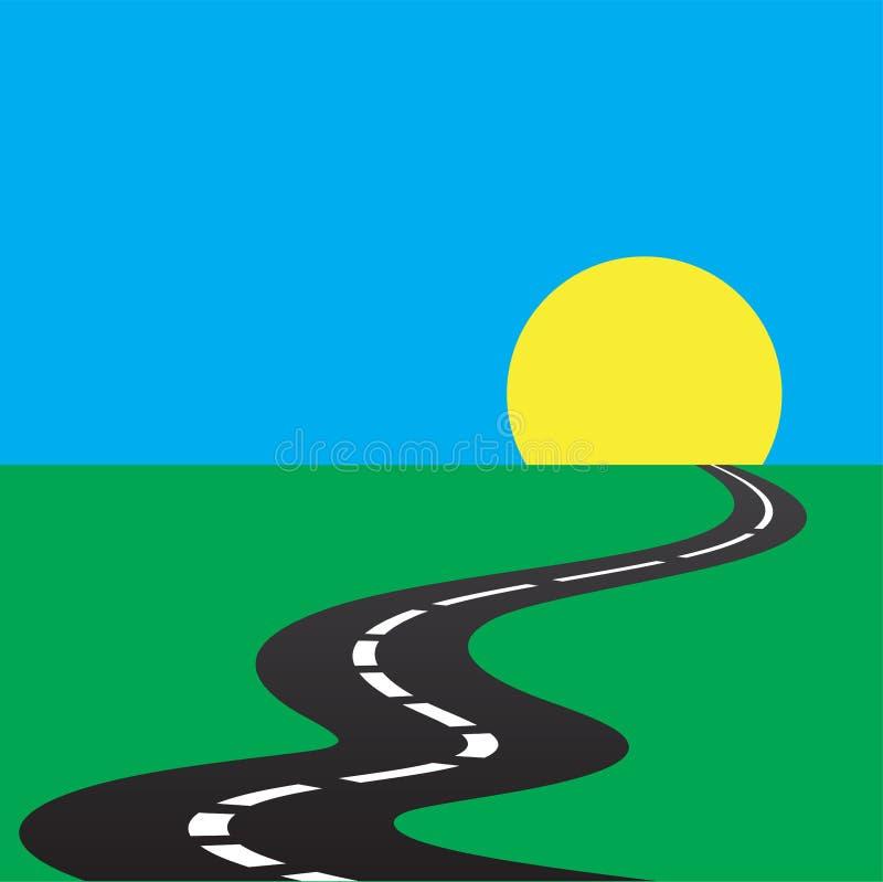 Route à l'avenir - fond du soleil illustration stock
