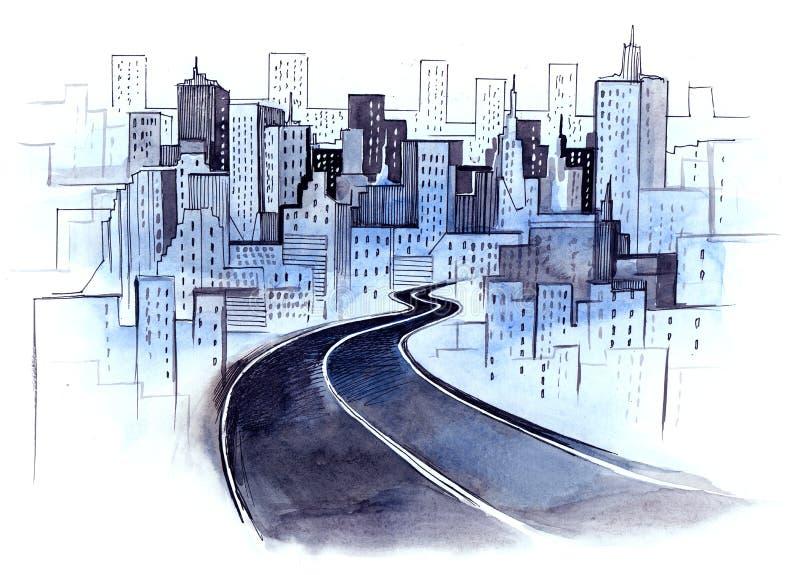 Route à la ville illustration stock