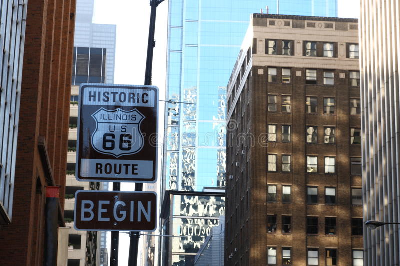 Route 66. Road sign Begin of Route 66 in Chicago stock photography