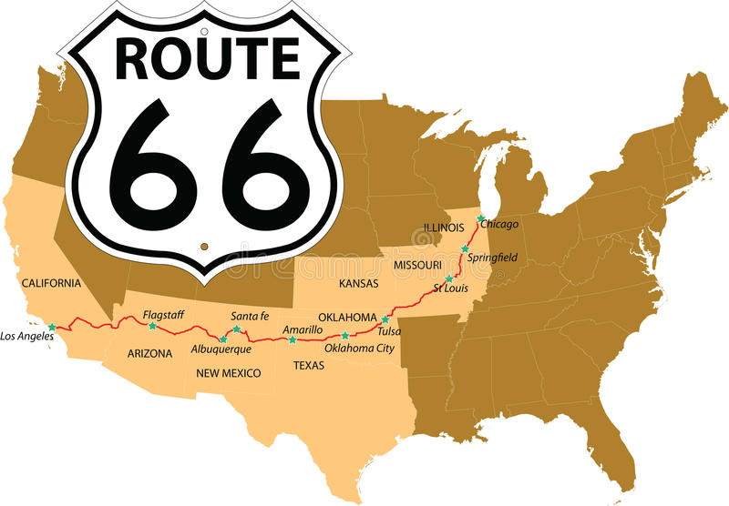 Route 66. USA map with names of major towns royalty free illustration