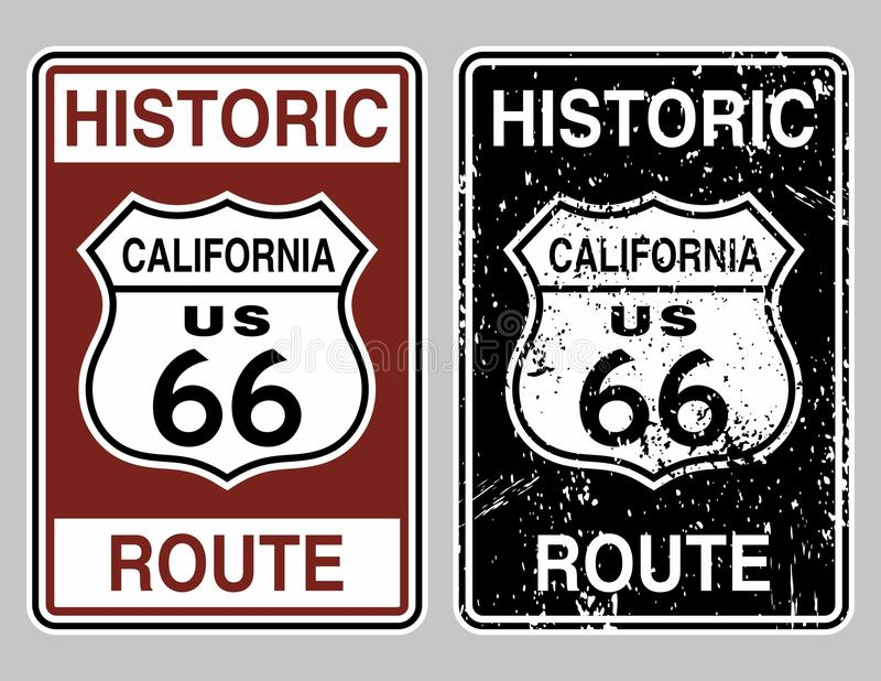 Route 66. Vector illustration of a distressed historic route 66 road sign royalty free illustration