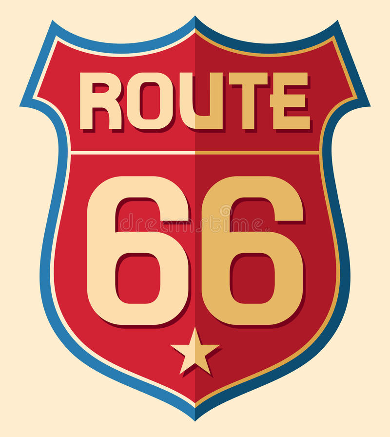 Route 66. Historic Route US 66 Sign stock illustration
