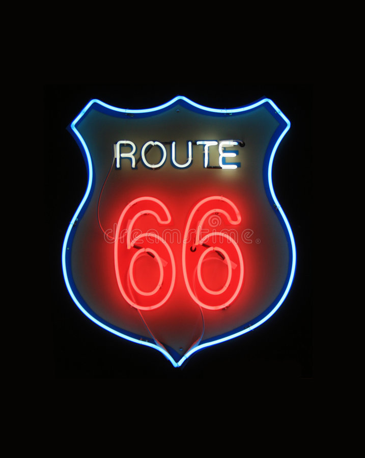 Download Route 66 Neon Sign stock image. Image of vacation, direction - 2798257