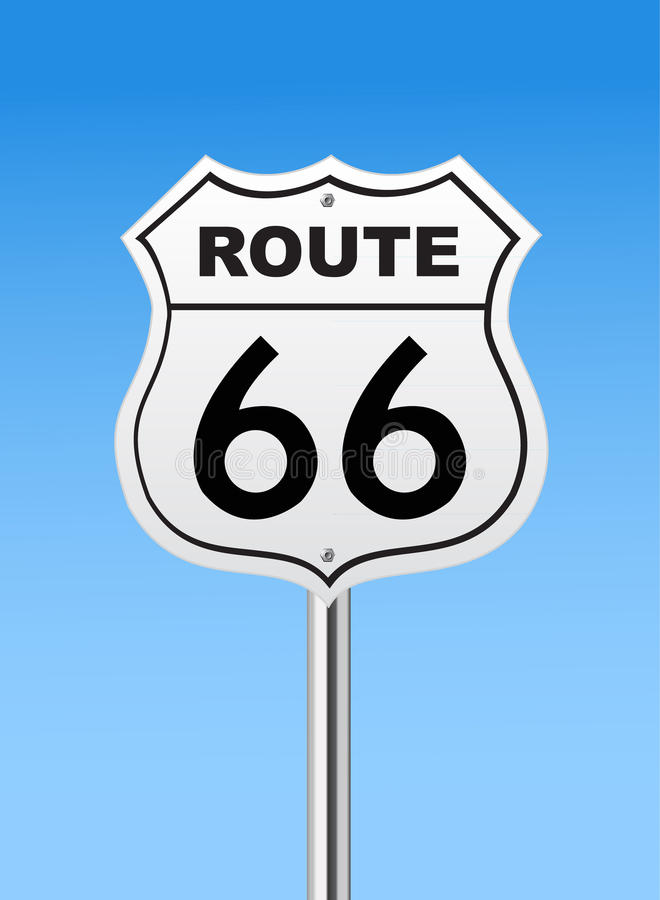 Route 66 road sign vector illustration