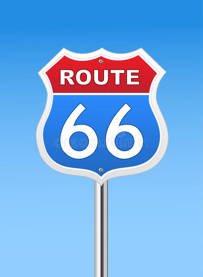 Route 66 road sign. On Blue Sky royalty free illustration