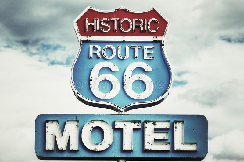Route 66 USA. Motel sign on Route 66 USA royalty free stock images