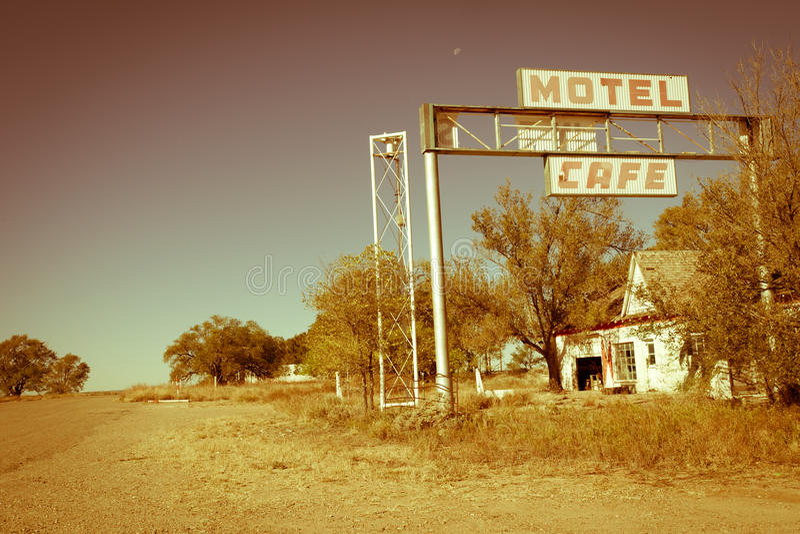 Route 66 van de V.S. motel en koffie royalty-vrije stock foto