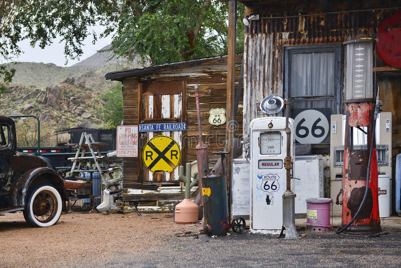 Route 66. Abandoned gas station and service at famous Route 66,the Mother Road, Arizona, US royalty free stock photography
