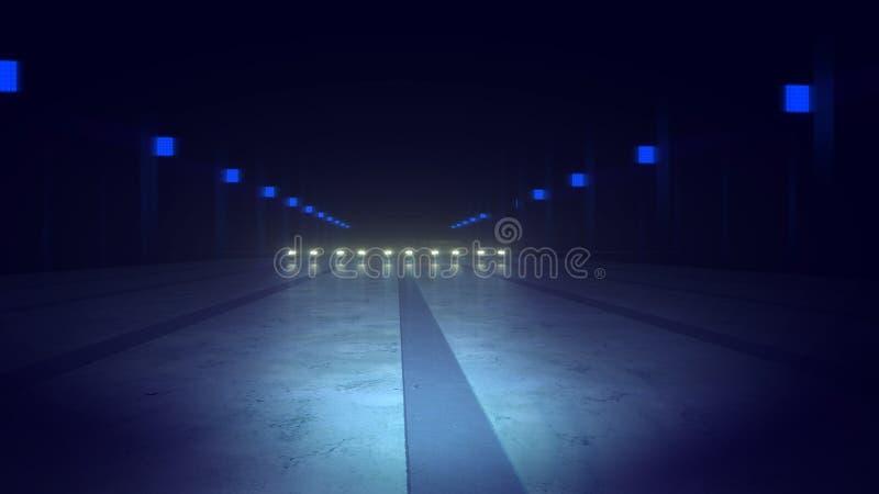 Route abstraite de souterrain et lampes bleues illustration libre de droits