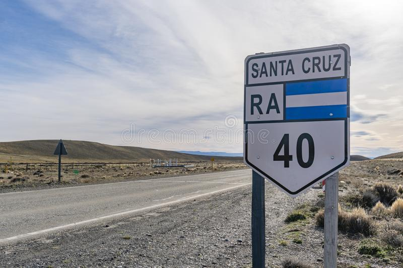 Route 40 in Argentina. Road sign along route 40 in Patagonia region of Argentina royalty free stock image