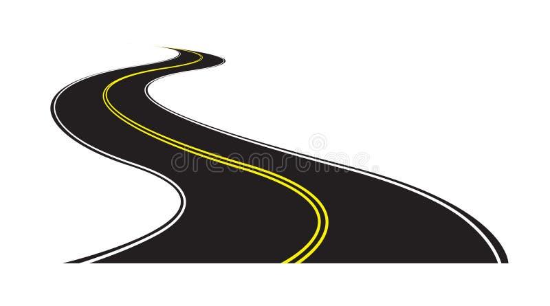 route asphaltée incurvée avec double ligne jaune au milieu illustration libre de droits
