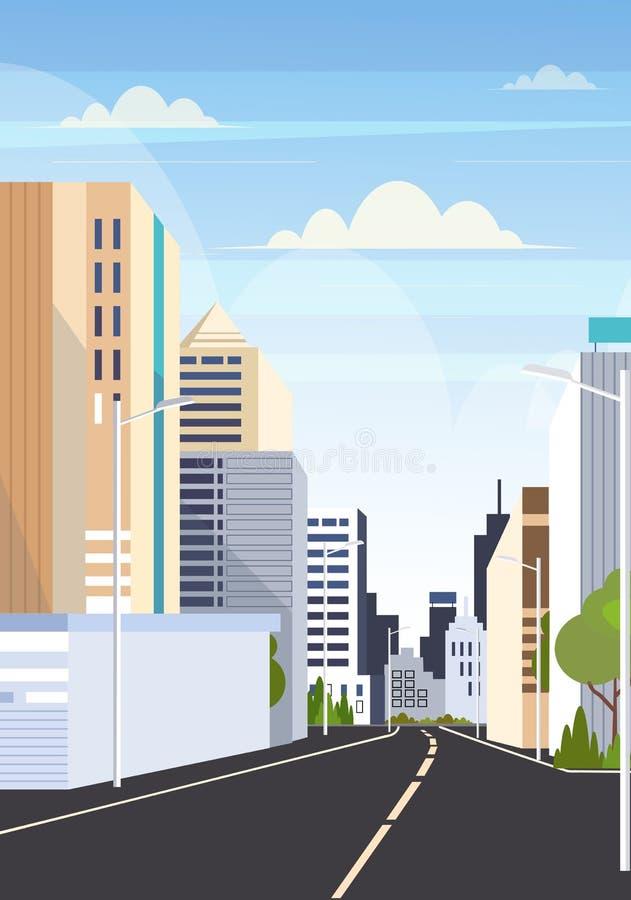 Route asphalte ville skyline bâtiments modernes gratte-ciel arrière-plan de la ville plan vertical plat illustration de vecteur
