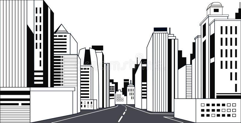 Route asphalte ville skyline bâtiments modernes hauts gratte-ciel ligne de fond de la ville horizontale illustration libre de droits