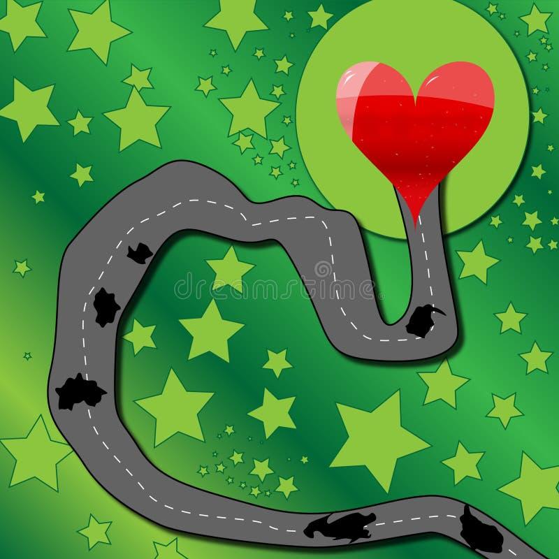 Route au coeur illustration stock