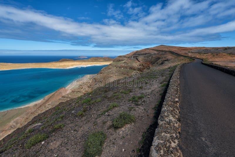 Route au del Rio, Lanzarote de Mirador image stock