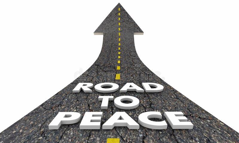Route aux mots de combat de guerre de fin de paix illustration stock