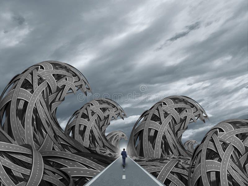 Route avec des vagues de tempête illustration libre de droits