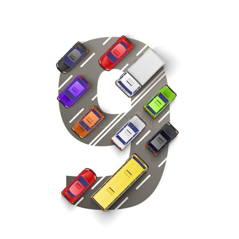 Route avec des voitures sous forme de numéro neuf Illustration de vecteur illustration libre de droits