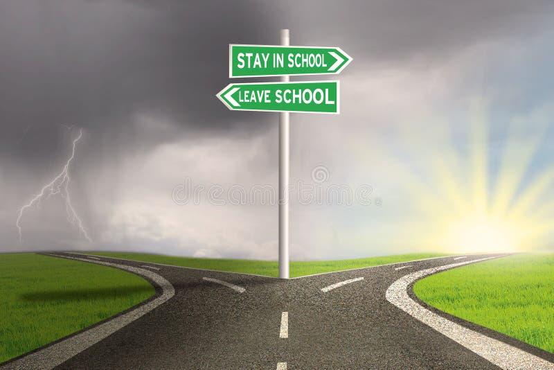 Route avec deux choix pour rester ou quitter l'école illustration libre de droits