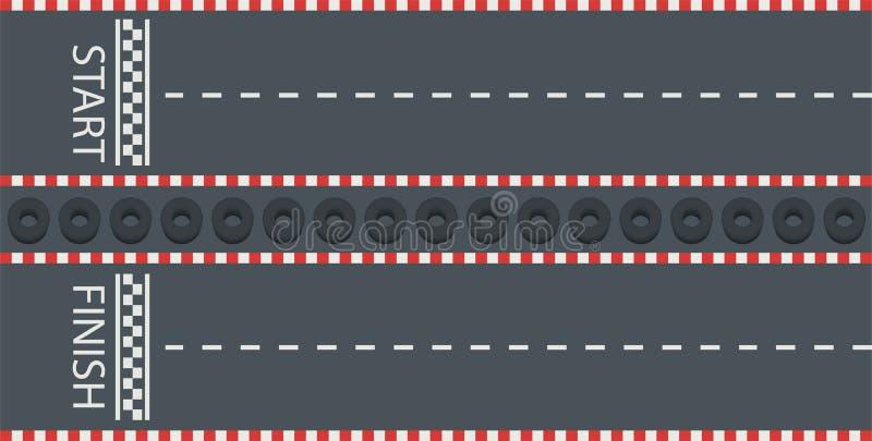 Route avec le début et la ligne d'arrivée Voie emballant, karting, vue supérieure illustration de vecteur
